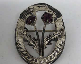Sterling and amethyst pin