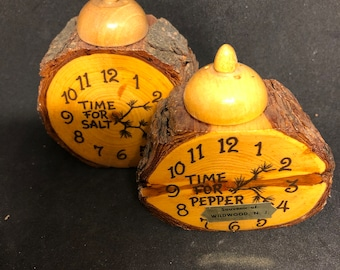 Vintage Time for salt and pepper wooden shakers