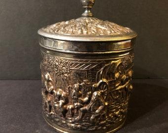 Vintage DE Silver-plate federal tobacco box