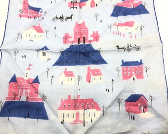 Vintage signed Emily Whaley Williamsburg Handkerchief