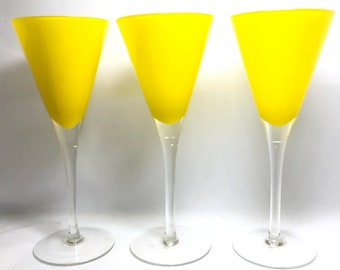 3 Yellow Champagne/ Martini Glasses