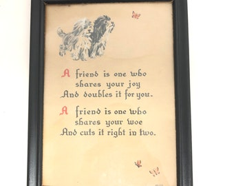 Framed vintage Calligraphy friendship
