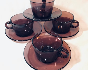 4 French Amethyst glass Tea/Coffee Cups and Saucers