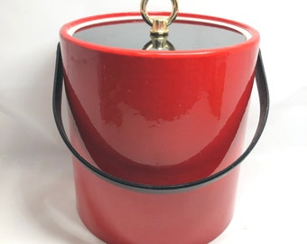 Morgan Designs Red Patten Leather ice Bucket  ice Pail