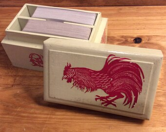 Red Rooster Appliqué Card Box