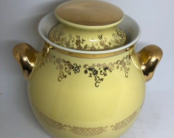 1950s Hall AS IS Yellow Gold Squiggle Cookie Jar