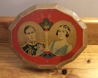 Harry Vincent Ltd  Bluebird Toffee English Souvenir Tin King George VI and Queen Elizabeth