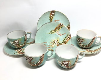 4 green Satsuma Dragon demitasse cups