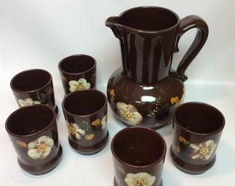 Majolika Hungry pitcher and 6 cups