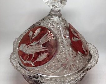 Bohemian Hofbauer painted cranberry crystal compote
