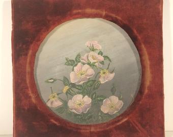 Antique Victorian Red Velvet Framed Painted Bowl