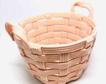Pink ceramic woven basket