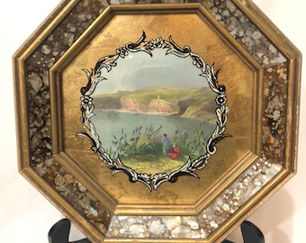 Tinted Pastoral Gilded Octagonal Etching