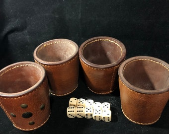 4 vintage leather dice cups with 10 dice