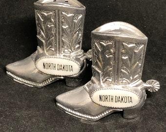 North Dakota souvenir cowboy boot salt and pepper shaker