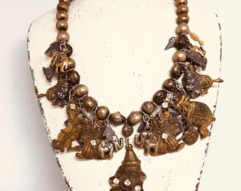 Vintage circus themed charm necklace