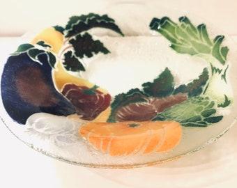 "Unsigned Peggy Karr 13"" Garden Vegetable Bowl"