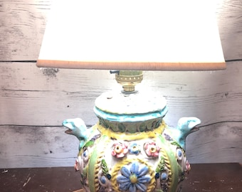 Lovely signed pottery lamp possibly Capodimonte