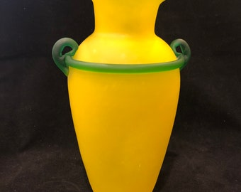 Frosted Yellow Artglass Vase
