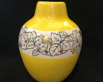 Vintage mid-century yellow vase with leaf detail