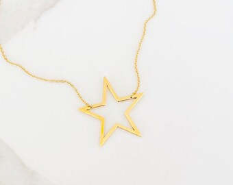 d45308e8f large star necklace oversized star open cowboys valentines day netflix  wedding superstar hollywood allie the society kathryn