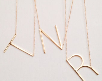 SHIPS TODAY large initial necklace oversized letter alphabet personalized sideways oversize prom baby shower wedding bestseller Mother's Day
