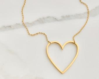 Spread the Love Heart Heart Necklace Huge Heart Choker Handmade Heart Pendant Big Heart Choker Choker Pendant Hammered Heart Jewelry