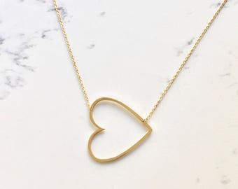 SALE large heart necklace oversized heart open heart sideway heart oversize heart wedding graduation gift bestseller designer tik tok