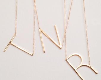 SALE large initial necklace oversized letter alphabet personalized sideways initial oversize letter graduation graduate wedding bridesmaid
