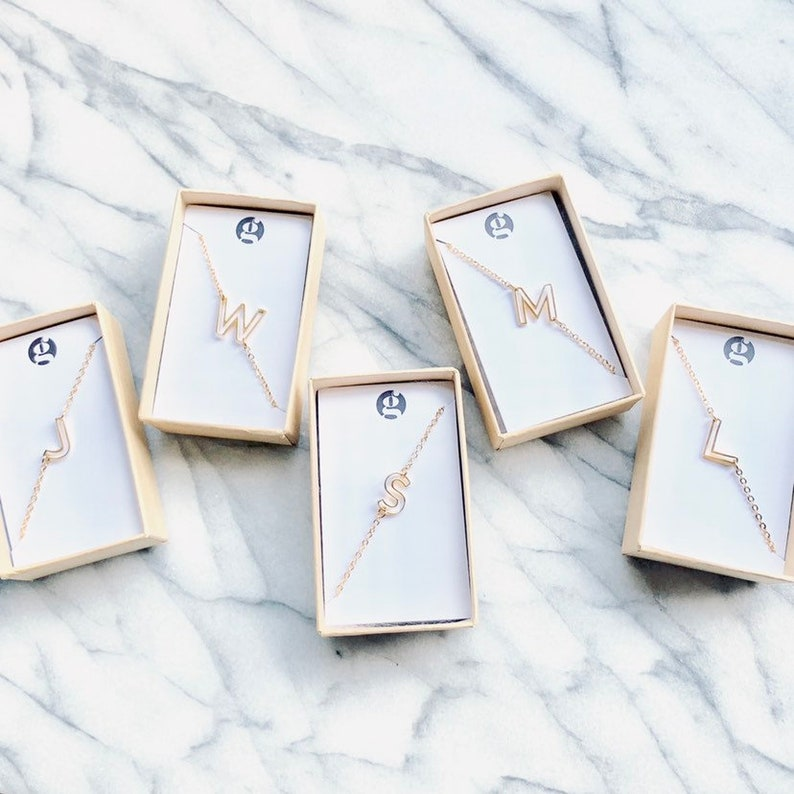 NEW letter necklace petite initial alphabet personalized image 0
