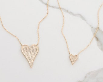 SALE heart necklace large small heart bridesmaid wedding sale bestseller gold today love designer hoda kelly christmas pave cz