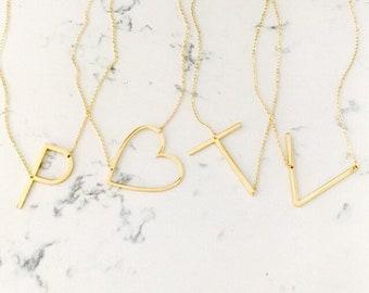 large initial necklace letter alphabet personalized sideways oversized wedding bestseller teacher gift graduation schitt's creek alexis tik