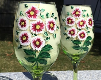 Wine Glasses With Hand Painted Red Flowers and Crystal Wine Charms Set of 2-12 oz. Anniversary Gifts, Wedding Shower Gift, Birthday Gift