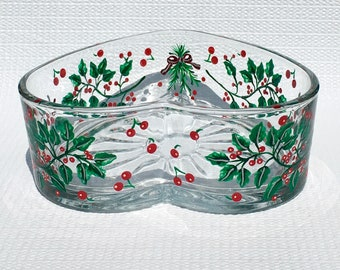christmas candy dish with hand painted holly and red berries christmas decor holiday decor christmas candy dish holiday candy dish - Christmas Candy Dish