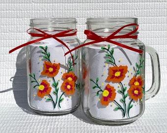 Mason Jar Mugs Hand Painted Red Orange Flowers 16 oz, Fall Colors, Boho Glasses, Birthday, Wedding Gifts For Her