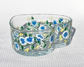 Heart Shaped Glass Bowl With Hand Painted Flowers, Bridal Shower Gift, Hostess Gift, Gifts For Her, Gifts For  Mom, Candy Dish