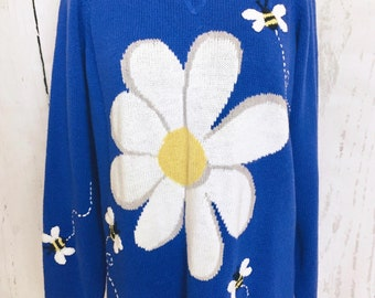 Authentic vintage sequined floral bumble bee beaded cream jumper