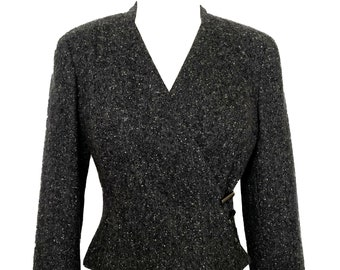 Chanel 99a Gray Heather Cropped Cashmere Jacket Very Pretty  40 / 4-6