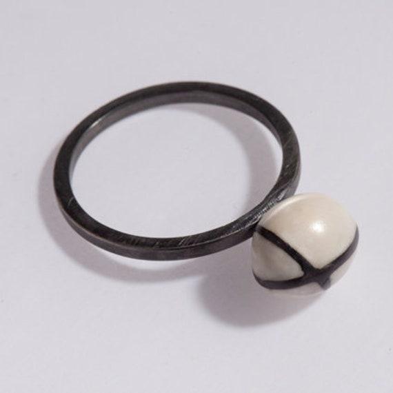 Silver Ring Art Ring Resin Ring White Ring Valentine Ring Boho Ring Polymer Clay Ring Designer Ring Bohemian Ring Simple Ring
