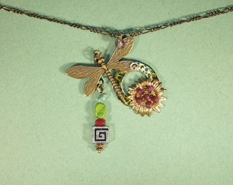 Ruby, Turquoise, Dragon Fly Necklace