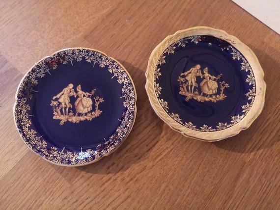 Blue  Mini China Plates Vintage