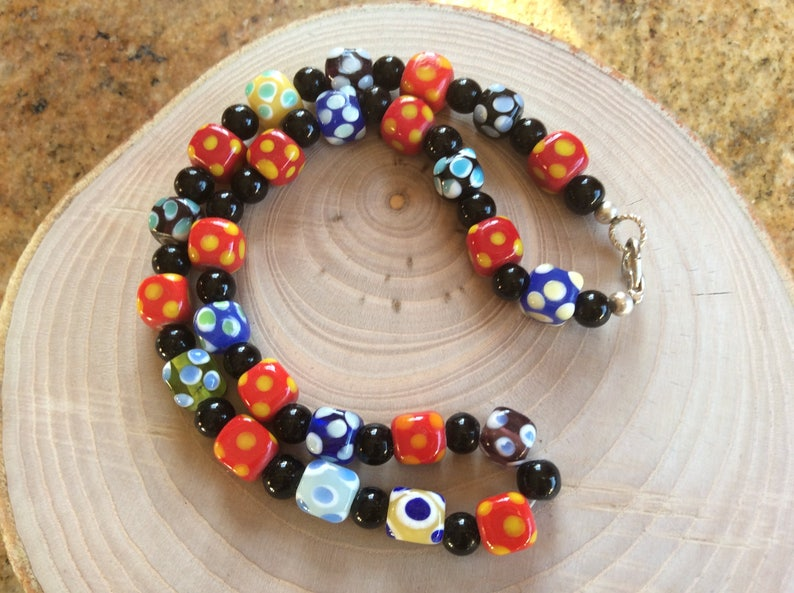 dots pattern white black Vintage jewelry necklace lampwork glass beads green yellow and blue colours red