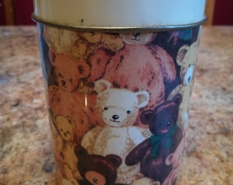 Sweet Irish Teddy Bear Tin, vintage storage canister. Sweet or biscuit container, cute retro gift