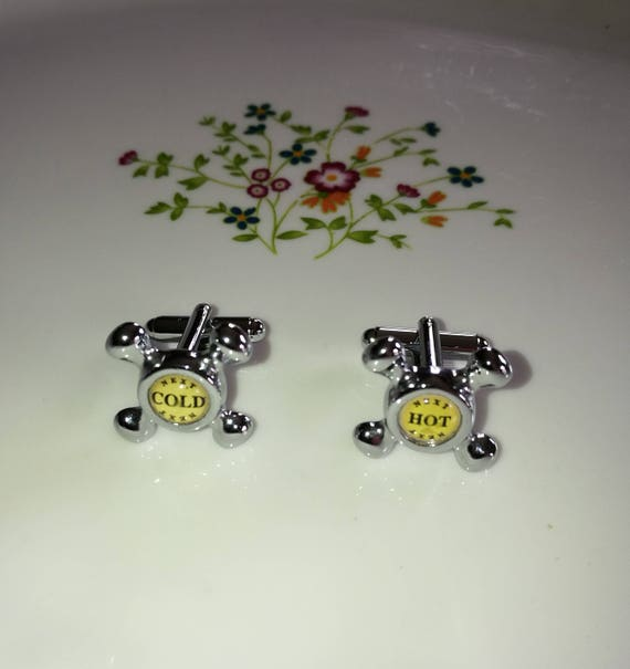 Hot and Cold Taps Plumbers Cufflinks Executive Gift For Him