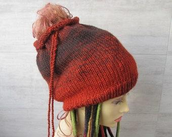Burnt orange dread tube hat for large head dreadlock beanie 896e203ff710