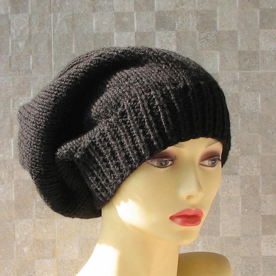 436e9a031 Long slouchy beanie Black knitted hat dreadlock locs cap hats for Rasta men