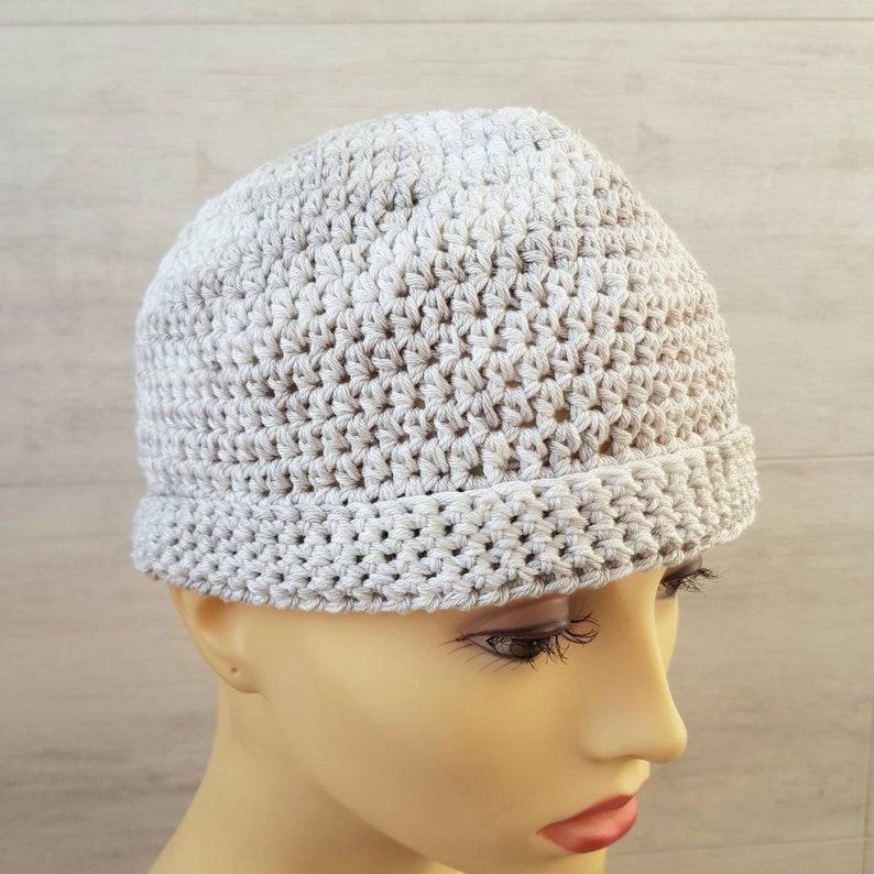 men/'s cotton skullcap summer beanie simply beige grey crochet