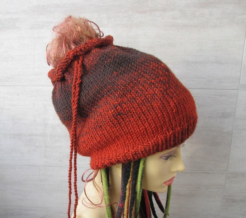 435b824e51652 Burnt orange dread tube hat for large head dreadlock beanie