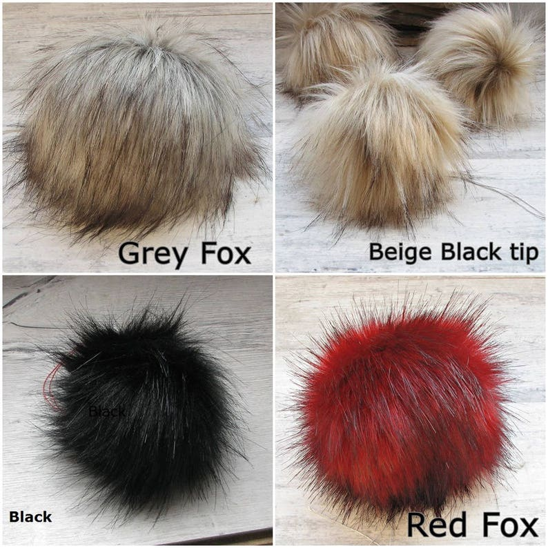 61d7135ae Faux fur pom pom detachable, different colors