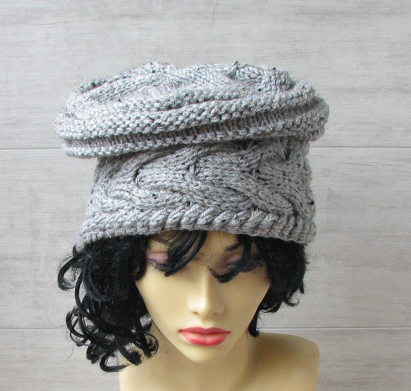 7f0c808addc Unique winter hat Knitted beanie for ladies Large cap grey